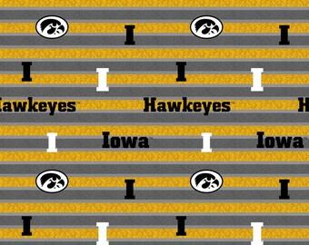 University of Iowa Fabric from Sykel Enterprises - Full or Half Yard University of Iowa Stripe - Hawkeyes