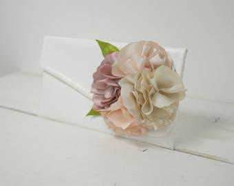 Custom wedding purse | Nude flowers wedding clutch | Bridesmaid nude clutches |  Bridal nude clutch
