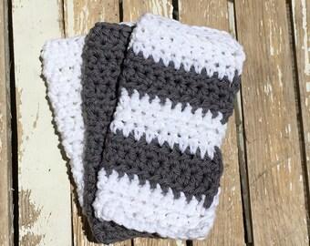 Crochet Dishcloth, Crochet Washcloth, Cotton Dishcloth, Cotton Washcloth, Knitted Dishcloth, Knit Dishcloth, Grey and White Stripe, Set of 3