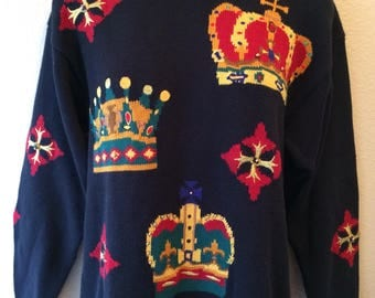 Funky vintage 1980s 1990s We Three Kings womens sweater size small ugly Christmas or every day