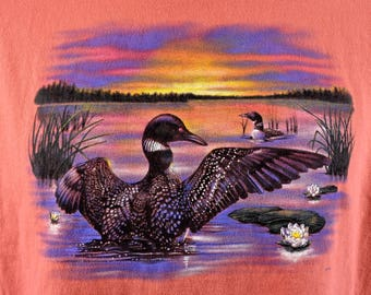 Sunset Loons on a Lake T-Shirt, Size Large