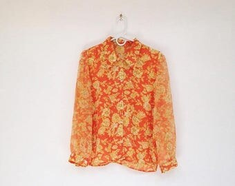 SALE Vintage 1980s Bright Orange Floral Chiffon Sheer Sleeve Collared Blouse