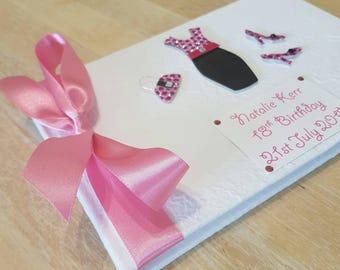 Personalized 18th Birthday Guest Book - Pink and Black