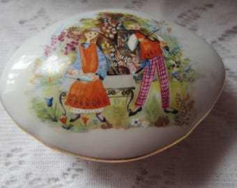 Girl and Boy with Violin Vintage Made in Italy Decorative Ceramic Covered Dish