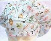 Bouffant Scrub Cap for Woman, Surgical Scrub Hat, Ties into a Ponytail Scrub Hat. Dessert Rose, Feathers