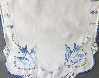 Vintage Embroidered Dresser Scarf, blue birds, crochet trim, runner