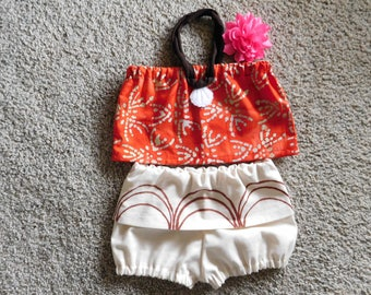 Baby Moana costume top and diaper cover with short attached skirt option of flower infant thru 2 years