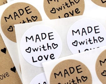 Super cute MADE WiTH LOVE Stickers with mini hearts - handmade with love sticker for packaging, gifts, party favors, etsy shops