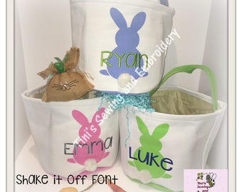 Easter Buckets, Bunny Tail Basket , personalized Easter Basket ,Ready to Ship