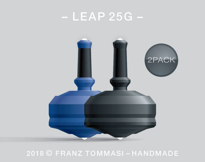 LEAP 25G 2PACK Blue-Black – Value-priced set of precision handmade spin tops with dual ceramic tip and integrated rubber grip