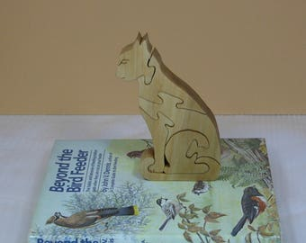 Home Decor - Wooden Puzzle - Cat Shape - Wood Animal - Office Decor