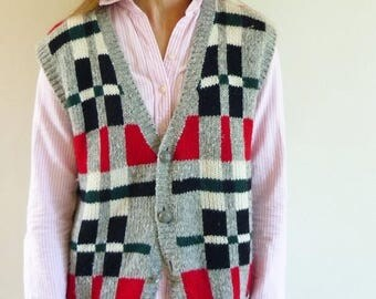 80s sweater vest - 1980s Esprit colorblock knit vest - 80s clothing