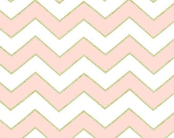 Michael Miller Glitz Metallic Chic Chevron Pearlized in Confection - 1 yard - Metallic pink chevron fabric - Pink gold chevron fabric