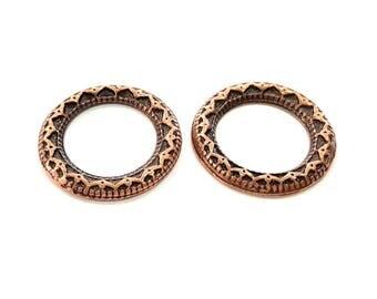 2 Antique Copper Circle Pendant Antique Copper Plated Pendant (29mm) G7916