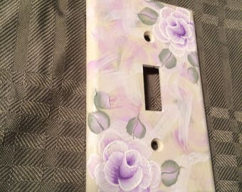 Shabby Cottage Chic Hand Painted Lavender Rose Ivory/Beige Light Switch Cover