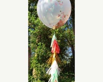 ON SALE TODAY Clear Confetti Filled 36 inch or 18 inch balloons with or without tassel garlands