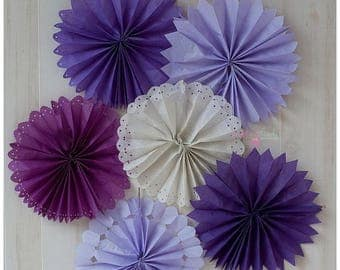 ON SALE TODAY Tissue Fans Rosettes Hanging Tissue Pinwheels Colors of your Choice Tissue Fan Medallions Party Decoration photo prop table ba