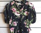 Vintage 1940s rayon dressing gown • vintage floral dress • 40s dressing robe