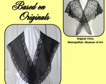 Victorian Fashionable Black Fichu, Civil War Appropriate - Copied From My Original - Affordable Elegance