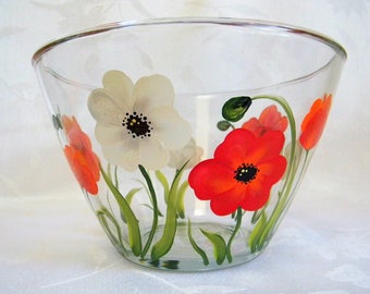 Serving bowl, bowl with poppies, hand painted serving bowl, glass serving bowl, floral serving bowl, fruit bowl, painted bowl