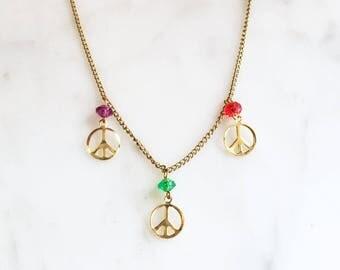 Vintage 60s 70s MOD Piece Sign Charm Necklace