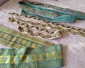 Vintage Tape Trims, Silk, Cotton Green Braids 3pcs , French Vintage Gimp Upholstery Tape