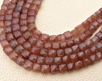 Rare Natural Strawberry Quartz Faceted 3D Box Shape Briolettes,8mm Size.Full 7.5 Inch Long Strand