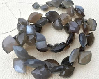 1/2 Strand,Superb-Finest Quality GREY MOONSTONE Faceted Fancy Heart Shape Briolettes, 14-8mm size,Great Item
