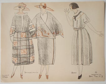 Pochoir print from Gazette du BON TON 1920 sketched by Mario Simon illustration of designs by Jeanne Lanvin and de Beer