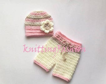SALE 15% DISCOUNT NewBorn Girl Crochet Outfit _Baby Girl First Outfit_ Baby Girl Hat and Crochet Shorts _Newborn Baby Girl Crocheted Beanie