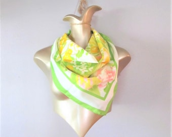 """Vintage Large AVON Scarf / Green White and Yellow Soft Acetate """"SM Kent"""" Square Neck or Hair Scarf Made in Japan"""