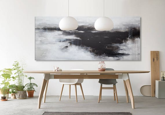 Large Abstract Painting Watercolor Horizontal Black White