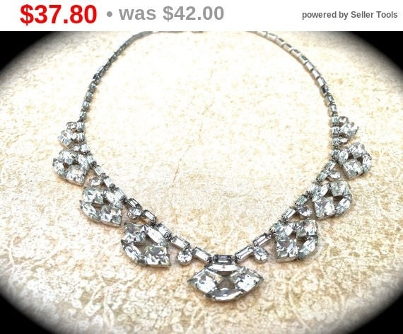Summer Sale Scalloped Rhinestone Choker Necklace, unique vintage necklace