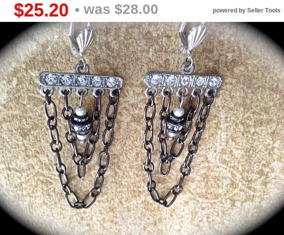 Summer Sale Vintage Chandelier Earrings- Statement Dangle Earrings- Vintage Handmade Earrings- Wedding Earrings-Bridal Jewelry- Vintage B...