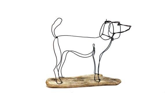 Hund-Draht-Skulptur Hund Draht Kunst Hund nach Hause Dekor