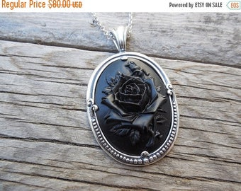 ON SALE Black rose cameo necklace handmade in sterling silver