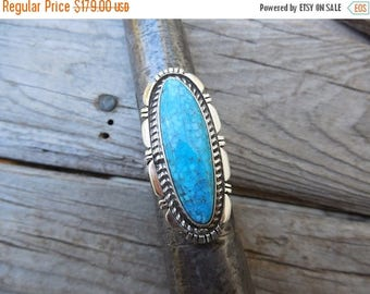 ON SALE Beautiful blue turquoise ring handmade in sterling silver
