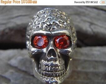 ON SALE Skull ring in sterling silver with firey dark orange CZ eyes