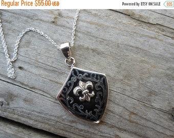 ON SALE Sterling silver Fleur De Lis enameled necklace