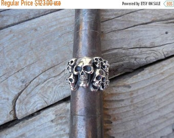 ON SALE Skull ring with ten different skulls handmade in sterling silver 925