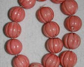 Coral, Natural Coral, Large Coral Bead, Pumpkin Shape Bead, Color Enhanced, Organic Coral Bead, ONE BEAD, 35 mm, AdrianasBeads