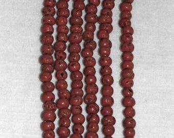 Glass Bead, Tibetan Sherpa, Red Bead, 9-10mm, 20 beads