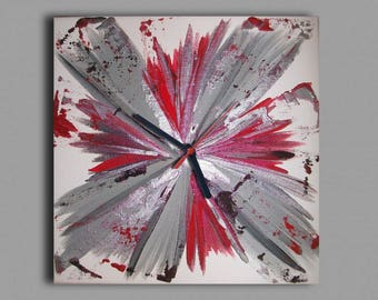 Tableau horloge carré rouge gris noir contemporain moderne abstrait
