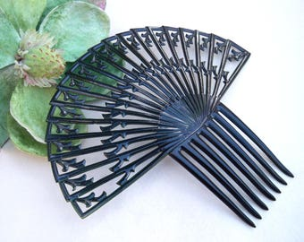 Art Deco hair comb Spanish style black celluloid hair accessory headdress headpiece decorative comb