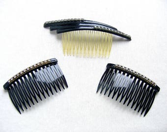 Vintage hair combs 4 celluloid hair accessories mid century decorative hair comb hair jewelry (XXR)