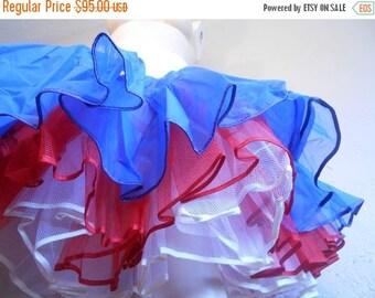 Anniversary Sale 35% Off The Rockets Red Glare - Vintage 1950s Patriotic Red White & Blue Layered Crinoline Petticoat