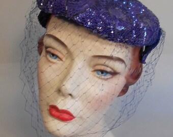 Anniversary Sale 35% Off Violets Turning Violet - Vintage 1950s Violet Coloured Sequin Caplet Hat w/Veil Fascinator - Rare Colour