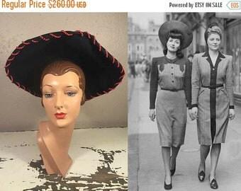 Anniversary Sale 35% Off Stylish Munition Gals - Vintage WW2 1940s Navy Felt Halo Tall Tower Wide Brim Hat w/Red Beads