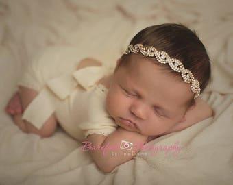 Baby Gold Headband, Newborn Headband, Rhinestone Baby Halo, Newborn Props, Girl Headband, Baby Photo Props, Rhinestone Tieback, Crown