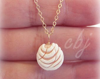 Pan Dulce Necklace, concha necklace, polymer clay pan dulce charm, gold filled necklace, pink pan dulce, yellow pan dulce, white, brown,